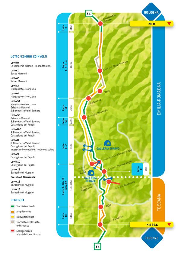 Autostrade per l 39 italia variante di valico mappa e for Planimetrie dei quartieri suocera
